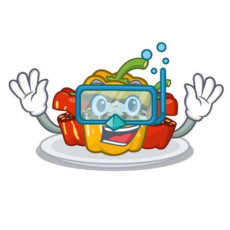 Diving stuffed pepper is served cartoon plate