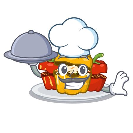 Chef with food stuffed pepper in the character shape