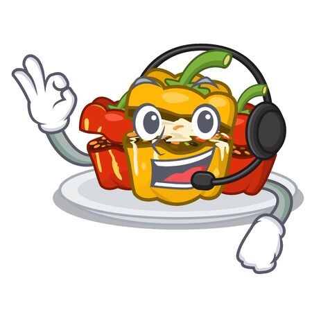 With headphone stuffed pepper in the character shape