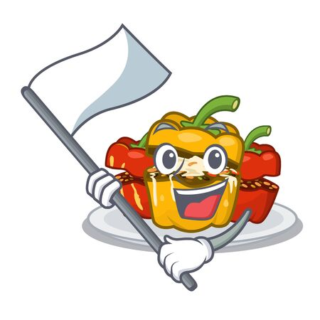 With flag stuffed pepper in the character shape