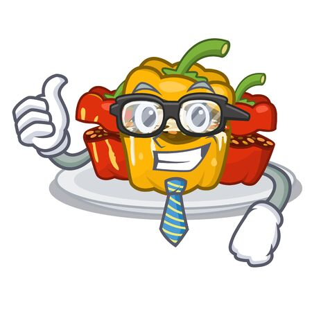 Businessman stuffed pepper is served cartoon plate Ilustração