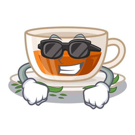 Super cool darjeeling tea in the mascot shape vector illustration