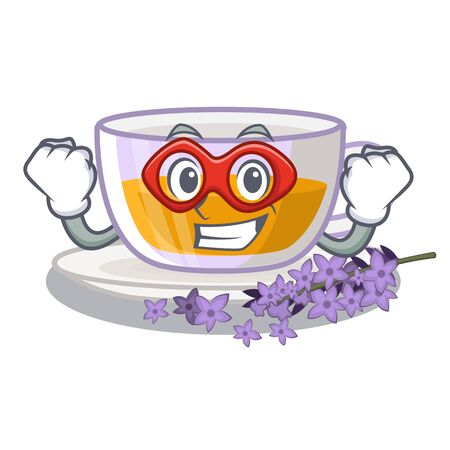 Super hero lavender tea isolated with the cartoon