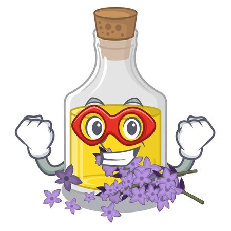 Super hero lavender oil isolated with the mascot