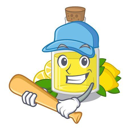 Playing baseball lemon oil in the mascot shape