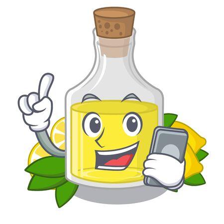 With phone lemon oil in the mascot shape vector illustration Иллюстрация