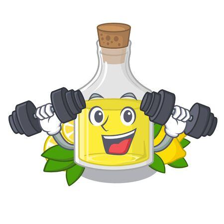 Fitness lemon oil in the mascot shape vector illustration