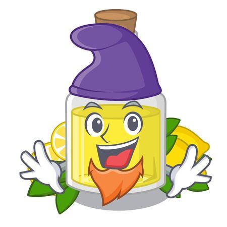 Elf lemon oil in the mascot shape vector illustration