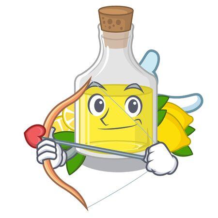 Cupid lemon oil in the mascot shape vector illustration Çizim