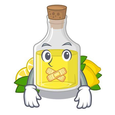 Silent lemon oil poured in cartoon glass