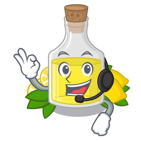 With headphone lemon oil poured in cartoon glass Иллюстрация