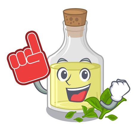 Foam finger peppermint oil above wooden mascot table vector illustration Ilustração
