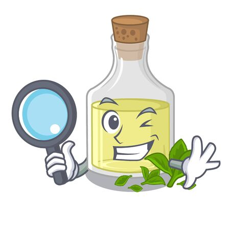 Detective peppermint oil in the cartoon shape vector ilustration