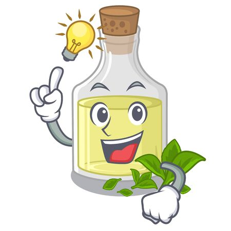 Have an idea peppermint oil above wooden mascot table vector illustration