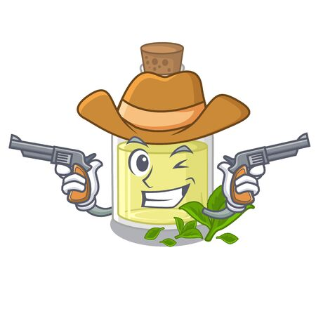 Cowboy peppermint oil isolated in the cartoon vector illustration Illustration