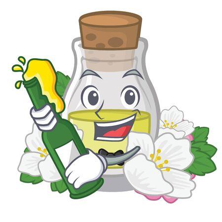 With beer jasmine oil isolated in the cartoon vector illustration Иллюстрация