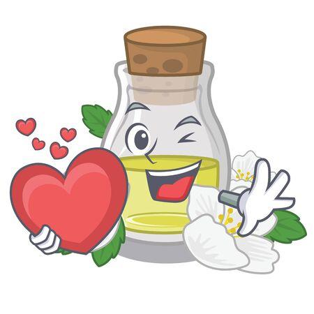 With heart jasmine oil in the cartoon shape vector illustration
