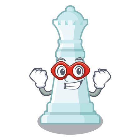Superhelden-Schachkönigin auf dem Maskottchen-Schachbrett