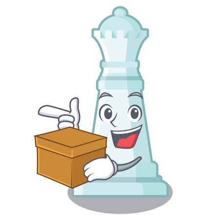 With box chess queen on the mascot chessboard vector illustration