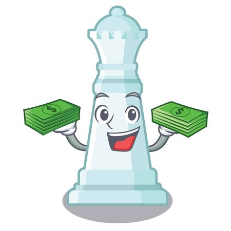 With money chess queen in the cartoon shape 向量圖像