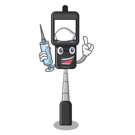 Nurse cell phone holder isolated in mascot vector illustration