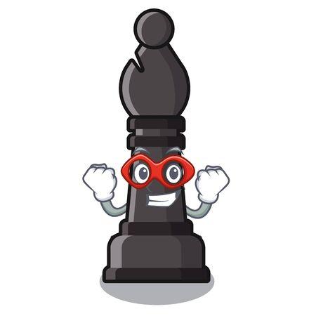 Superhelden-Bischofschach über dem Maskottchen-Schachbrett