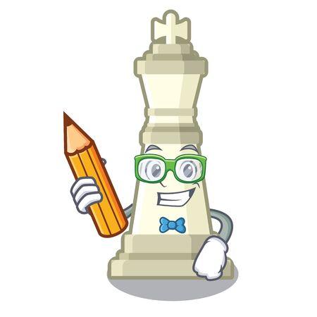 Schülerschachkönig auf einem Maskottchen Vektorgrafik