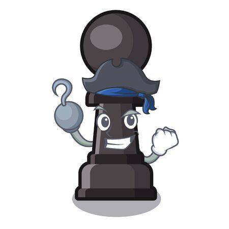 Pion d'échecs pirate isolé avec l'illustration vectorielle de dessin animé