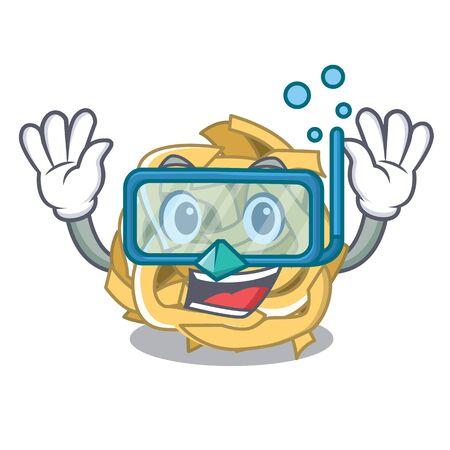 Diving fettuccine is served on cartoon plate Illustration