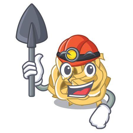 Miner fettuccine is cooked in character pan Ilustração