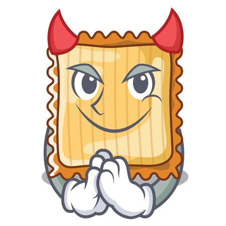 Devil lasagne is cooked in mascot oven Illustration