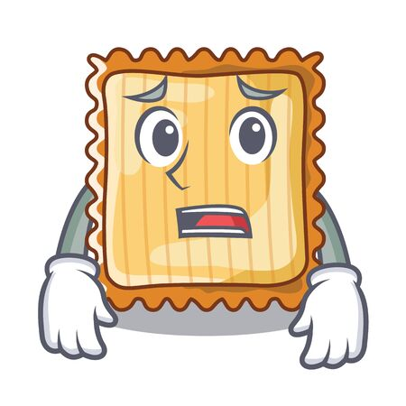 Afraid lasagne is cooked in mascot oven vector illustration 일러스트