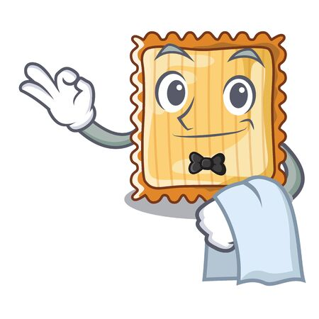 Waiter lasagne is cooked in mascot oven Illustration