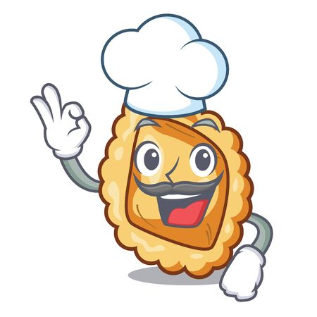 Chef ravioli in the a cartoon bowl vector illustration