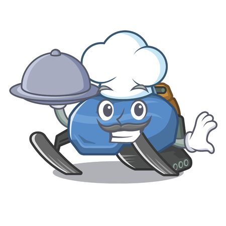 Chef with food snowmobile isolated in the a cartoon Illustration