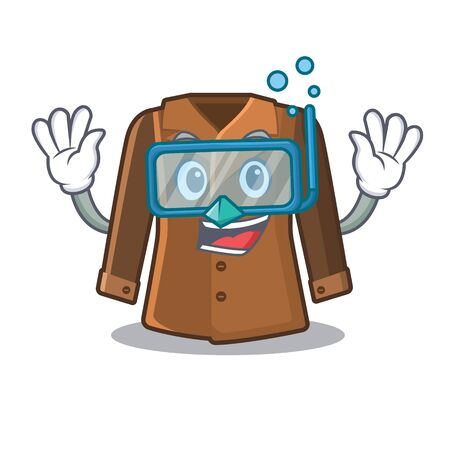 Diving coat isolated with in the mascot Illustration