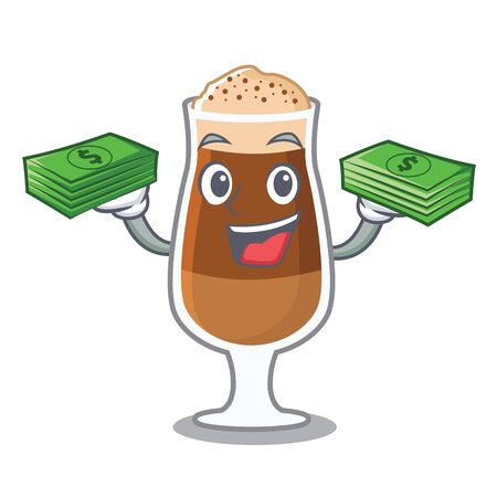 With money bag americano cafe in a cartoon bottle vector illustration