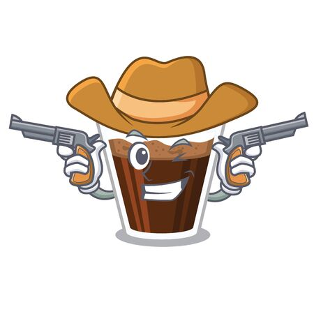 Cowboy irish coffee isolated with the cartoon