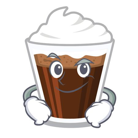 Smirking Irish coffee poured in glass cartoon