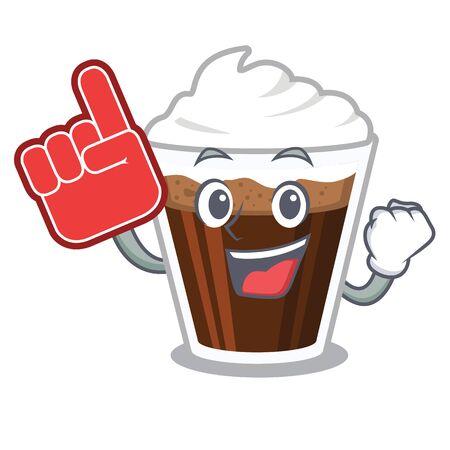 Foam finger Irish coffee in the character shape