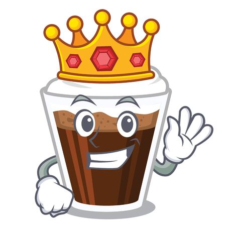 King Irish coffee in the character shape Illustration