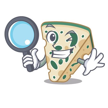 Detective blue cheese served in cartoon plate Vector Illustration