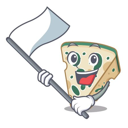 With flag blue cheese isolated with the mascot  イラスト・ベクター素材