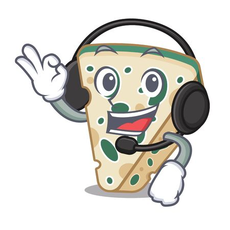 With headphone blue cheese isolated with the mascot