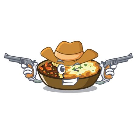 Cowboy gratin is served into character plates Vector Illustration