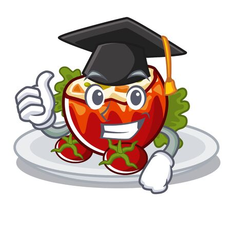 Graduation stuffed tomatoes isolated in the mascot