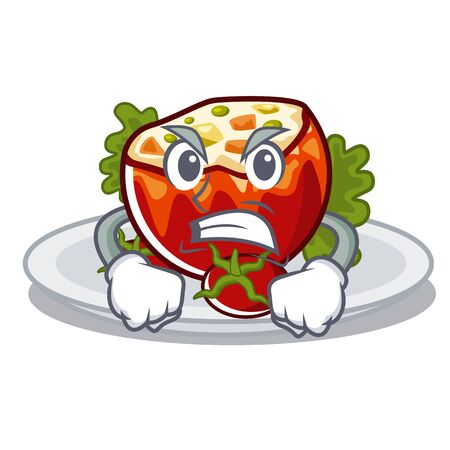 Angry stuffed tomatoes on a cartoon board vector illustration