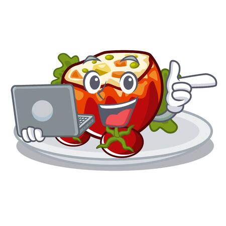 With laptop stuffed tomatoes put on character plates vector illustration