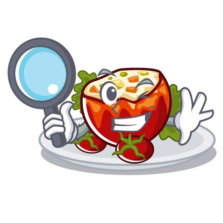 Detective stuffed tomatoes isolated in the mascot