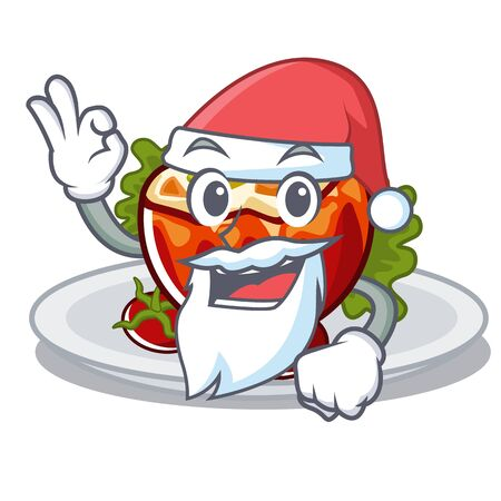 Santa stuffed tomatoes in the cartoon shape